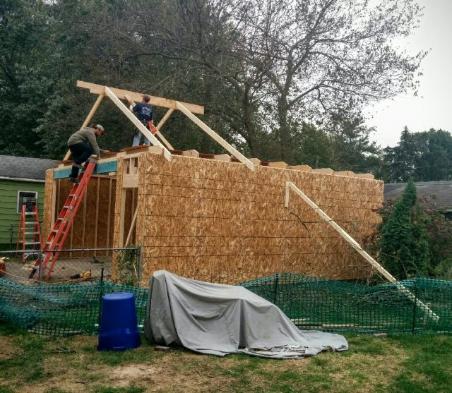 new garage-day 2-3-roof started-blog